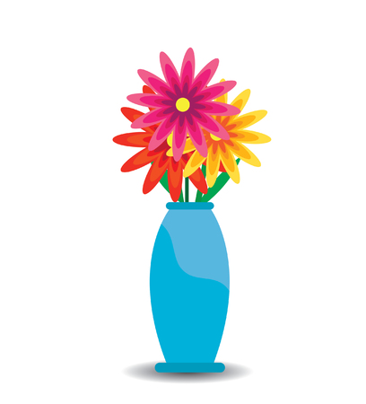 flower arrangement: flowers and vase composition, isolated on white Illustration