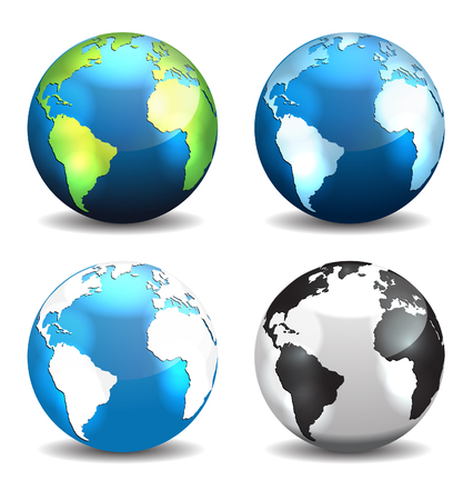Set of Earth globe icons, different color