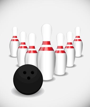 teamwork cartoon: Bowling pins and bowling ball