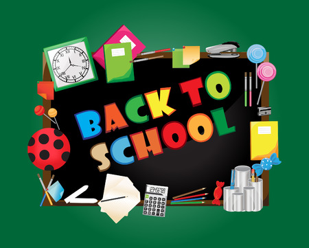 school supplies: Back to school, vector illustration.