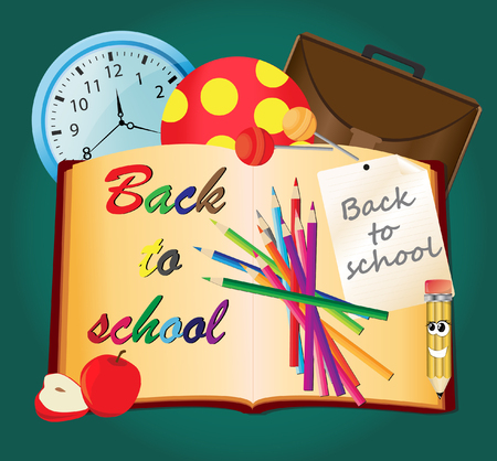 teaching crayons: Back to school, vector illustration.