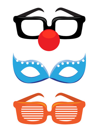 stage costume: Masks set vector Illustration