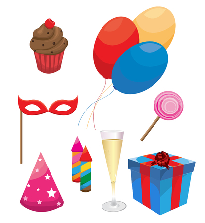 celebration party: Party  and Celebration Icons with White Background