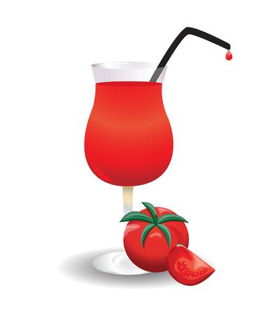 tomato juice: tomato and a glass of tomato juice Illustration
