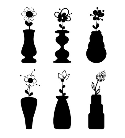 receptacle: Different slyle of vases with flowers