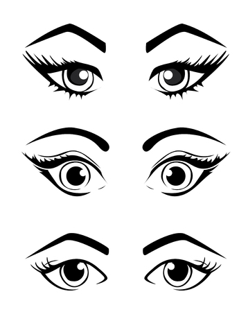 gaze: Woman eyes collection, vector illustration