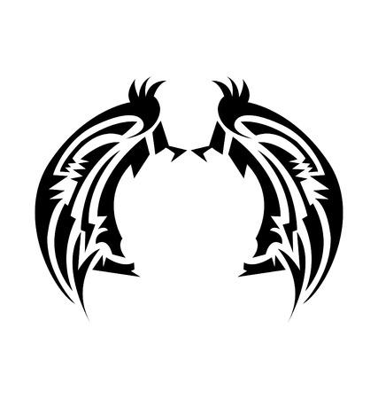 animal angelic: Wings tatoo Illustration