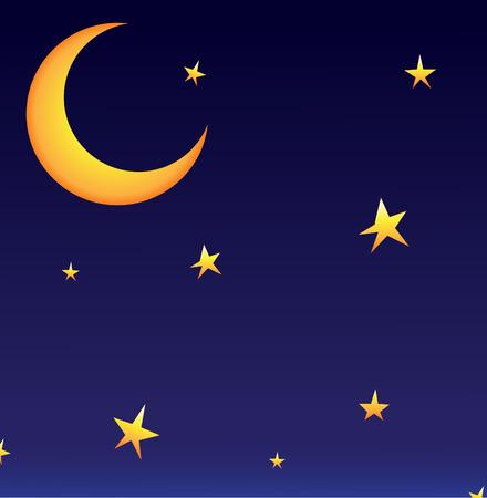 whit: Vector moon whit stars
