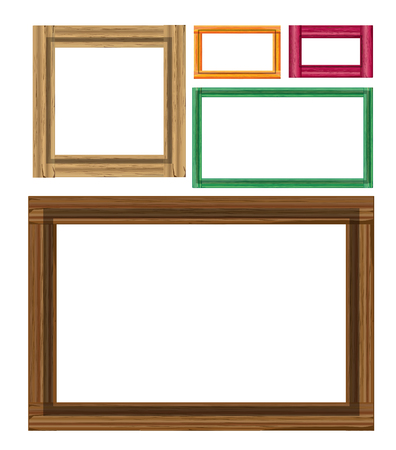 colored: Wooden colored vintage frames