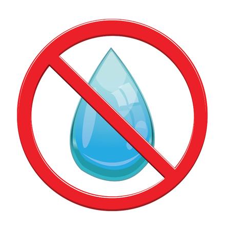 no water: No Water drop sign icon.
