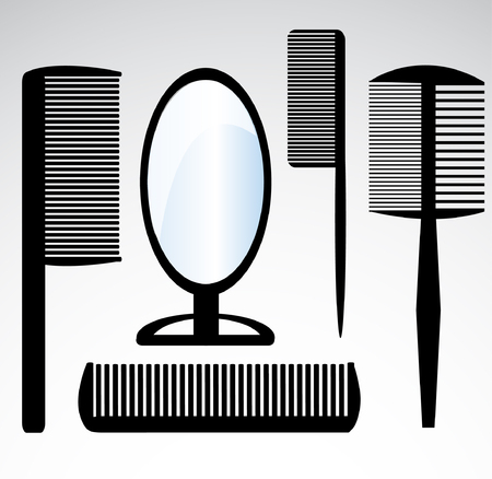 comb hair: collection beauty hair salon or barber comb
