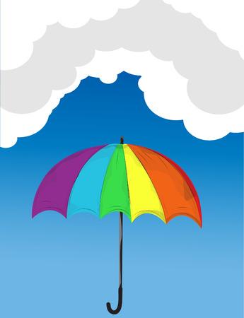 rainbow umbrella: rainbow colored umbrella