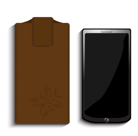 mobile telephone: Brown leather cell phone case whit phone