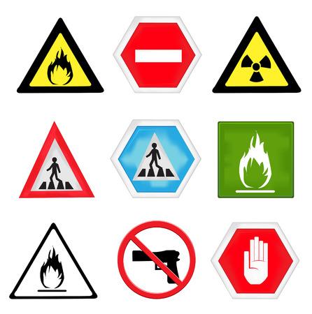 caution symbols set