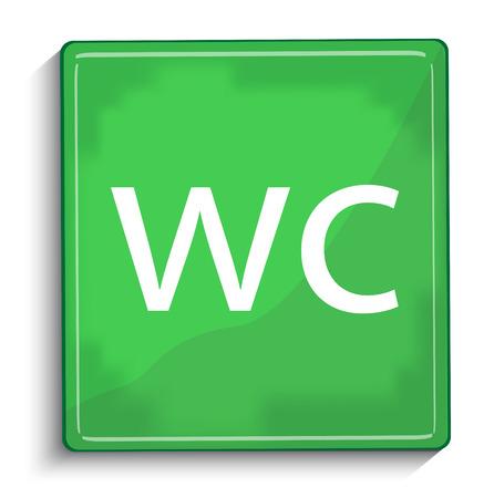 toilette: wc green glossy icon