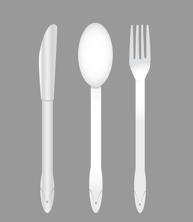 supper: Spoon, knife and fork