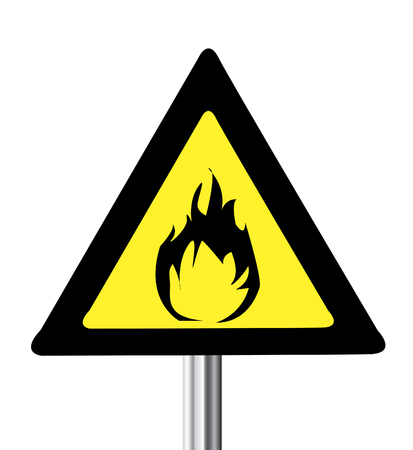 burnable: yellow triangle flammable warning sign