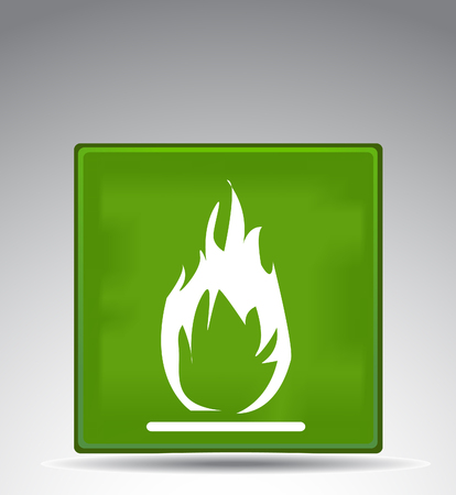 extreme science: green warning symbol flame