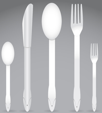 silver ware: Spoon, knife and fork