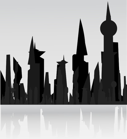 panorama city: A panorama picture of city skyline Illustration