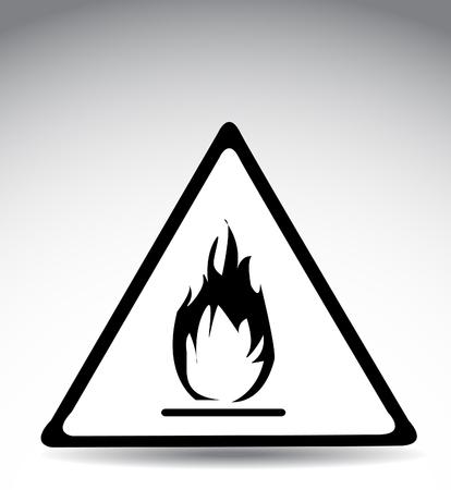 burnable: warning symbol flame Illustration