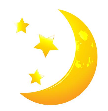 cartoon star: Vector moon whit stars