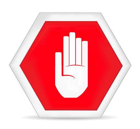 restrictive: No entry stop hand sign Illustration