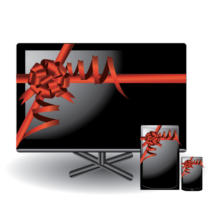 fullhd: Lcd tv, smartphone and tablet illustration