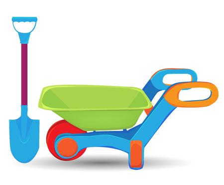 wheelbarrow: wheelbarrow and shovel Illustration