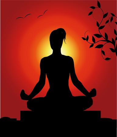 nature silhouette: female in a yoga pose