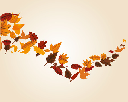 swirl: Autumn leaves swirl Illustration