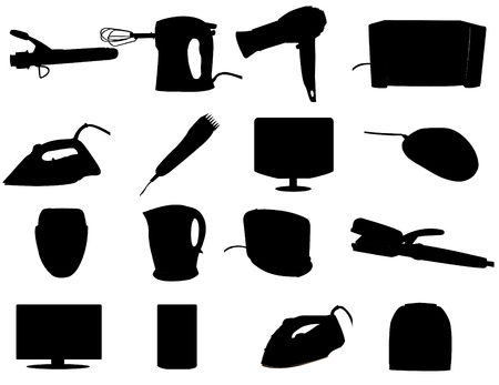 coiffure: Cosmetic, cleaning and heating appliances - vector illustration