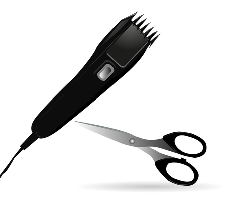 clipper: Vector illustration of barber machine - electric clipper on white background
