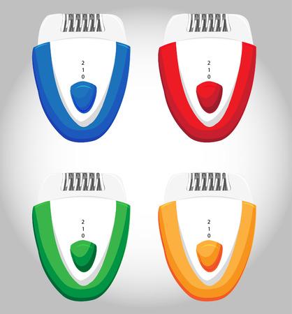 epilator: Vector illustration of epilator razor on white background