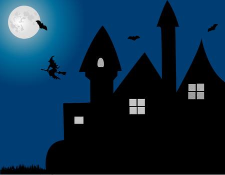 monsters house: Halloween background vector Illustration