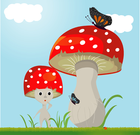 whit: mushroom vector whit butterfy Illustration