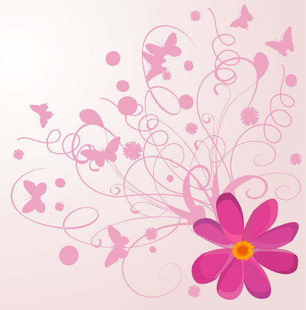 graceful: Background with flowers and with butterfly
