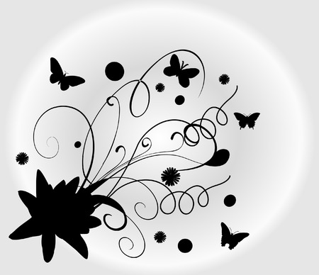 whit: Abstract floral silhouette whit butterfy, element for design