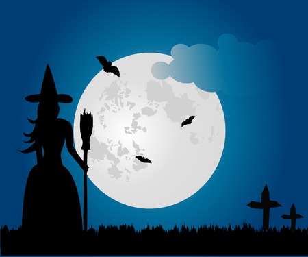witch on broom: vector flying witch at night