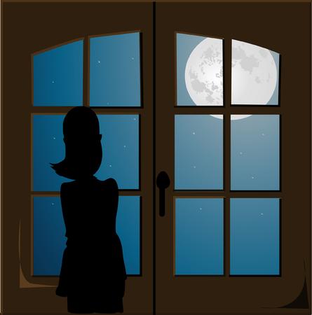 girl sitting: Girl sitting in the night, vector