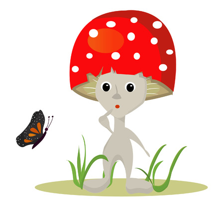mushroom vector whit butterfy Illustration