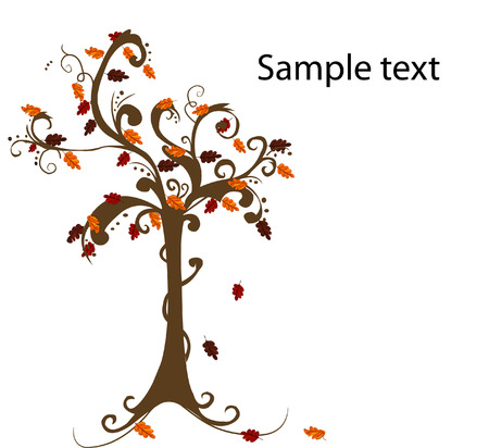 equinox: Abstract tree with autumn leaves vector illustration