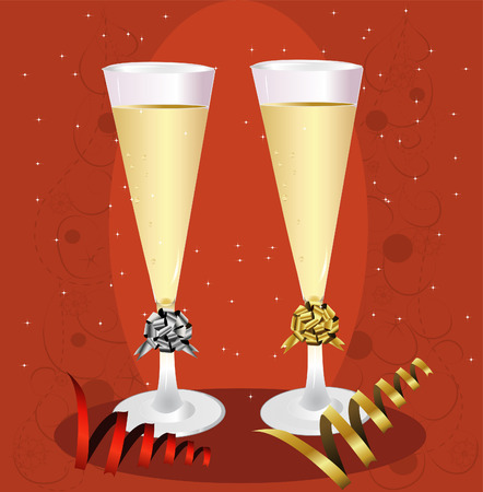 champagne toast: New Years Champagne Toast Illustration