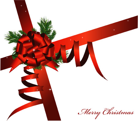 Vector Christmas card with a red ribbon