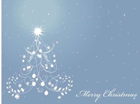 christmas tree illustration: Abstract Christmas tree on the blue background. Vector illustration.