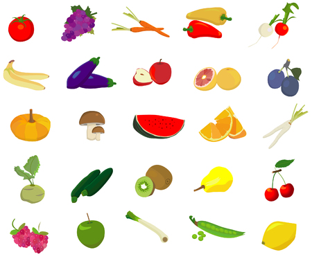 red grape: fruit and vegetable vector Illustration