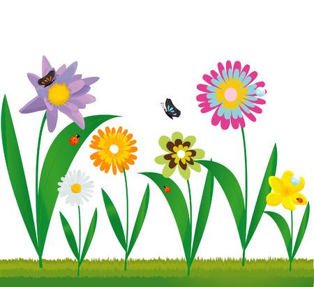 horizon over land: summer floral design Illustration
