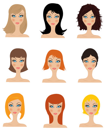 hair styling: Set of vector hair styling