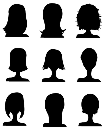 haircutter: Big set of black hair styling for woman