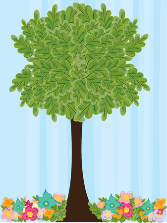 springtime: Tree in springtime and flowers,vector